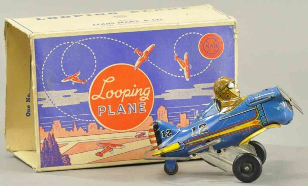 Marx Tine Ariplanes Looping plane done in lithographed tin, key wind mechanism,