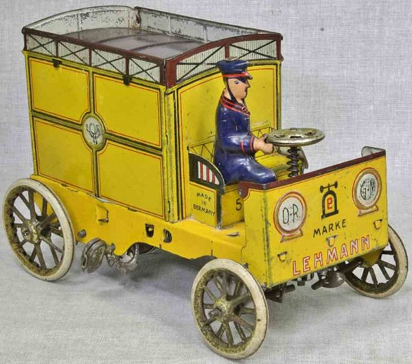 Lehmann Tin-Oldtimer Yellow mail car #575 auto post with feather clockwork, in ye