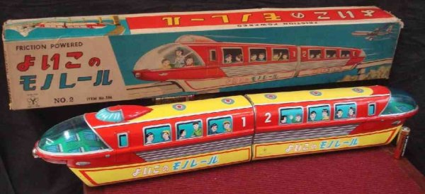 Yonezawa Tin-Toys Locomotive train mono rail tin toy