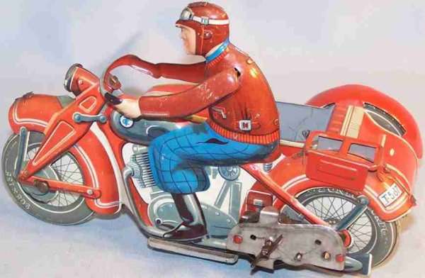 Tippco Tin-Motorcycles Motorcycle with sidecar in red, wind-up toy, Made in US Zone