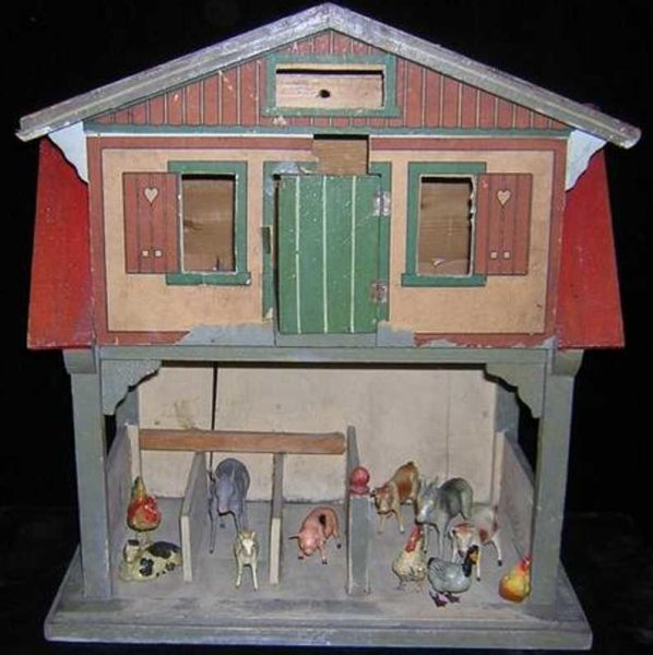 Gottschalk Moritz Dollshouses -Accessories three-level red-roof barn with 11 animals, it has the sto
