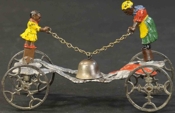 Gong Bell Cast-Iron Figures Rastus and his mother, The black youth is holding a chain wi