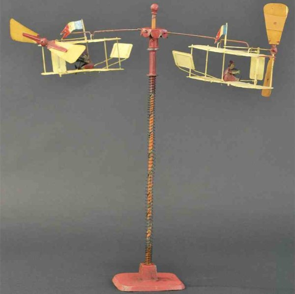 Martin Fernand Tin-Carousels LAeroplane #215, two spiralling airplanes, spiral mechanism
