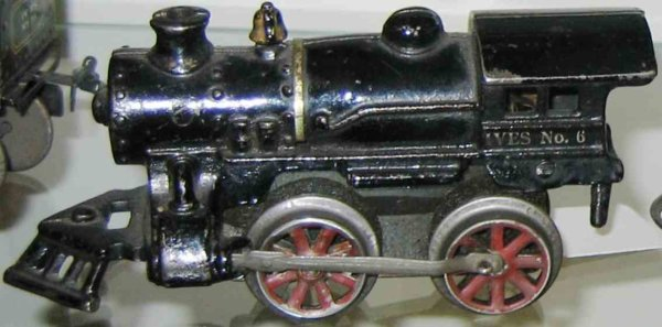 Ives Railway-Locomotives Clockwork locomotive of cast iron , in black hand painted wi