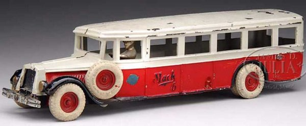 Arcade Cast-Iron buses MACK BUS. A three toned bus in black, red and white. A separ