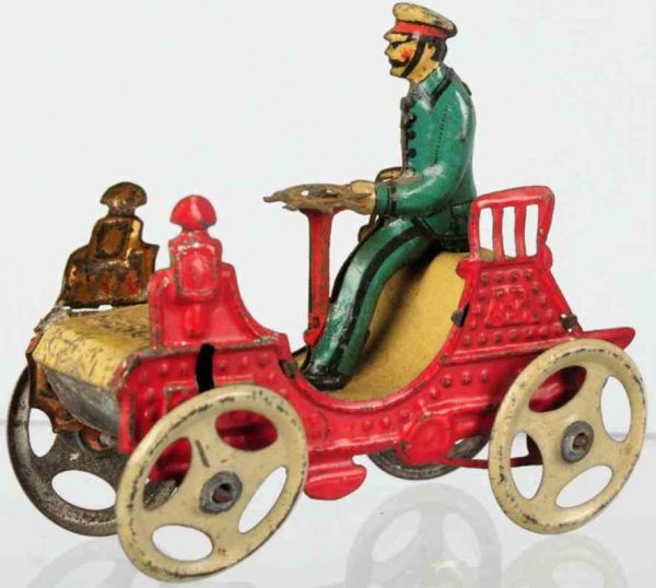 Meier Tin-Penny Toy Tin lithographed vis-a-vis limousine in red, marked 6 on r
