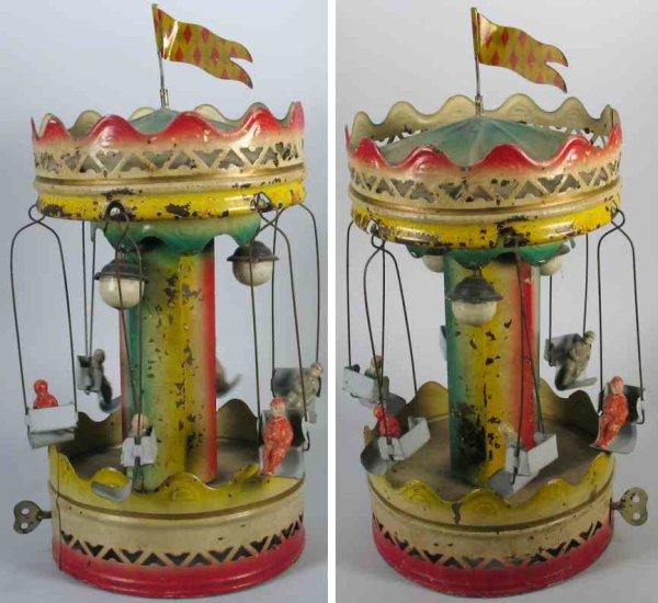 Guenthermann Tin-Carousels Carousel with 6 composition riders and inside lanterns, made