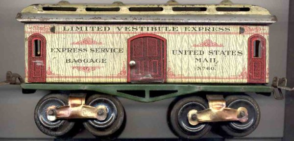 Ives Railway-Passenger Cars Baggage car; 4-axis, lithographed, nickel wheels, roof with