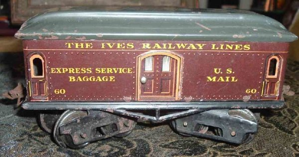 Ives Railway-Passenger Cars Baggage car; 4-axis, lithographed in chocolate brown, nickel