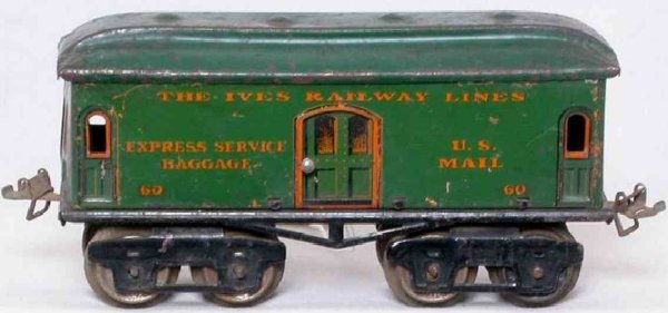Ives Railway-Passenger Cars Baggage car #60 with ieght wheels, lithographed in red or gr