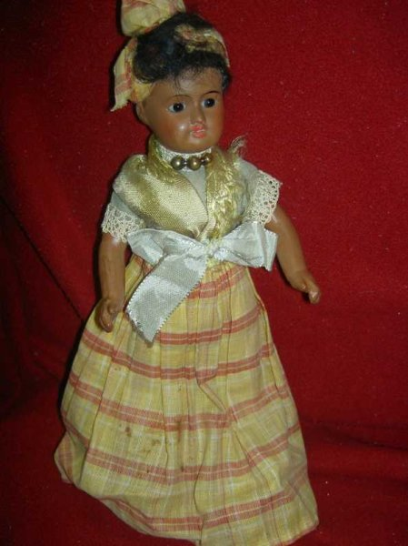 UNIS FRANCE Dolls French Creole lady antique black bisque socket head doll, sh