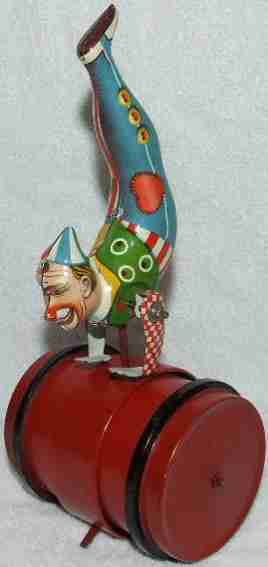 Voit Fritz Tin-Clowns Clown does handstand on red barrel, lithographed with clockw