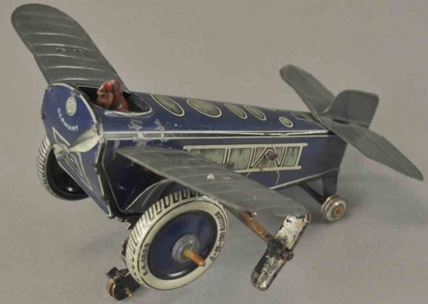 Guenthermann Tine Ariplanes Rollover plane #600 made of lithographed tin with clockwork