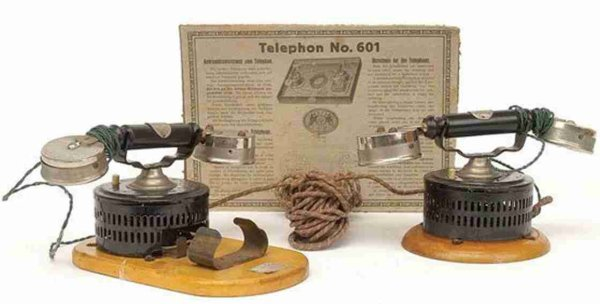 Plank Ernst Tin-Toys Telephone - set comprises 2 x telephones, battery operated,