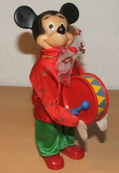 Carl Max Celluloid-Figures Micky Mouse from band with clockwork for the drum and with s