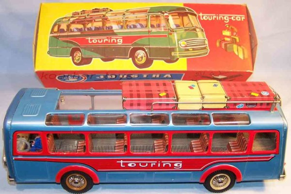 Joustra Tin-Buses Bus in blue metallic and red lithographed, movable windshiel