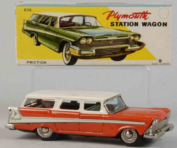 Bandai Tin-Cars Plymouth station wagon #608 made of lithographed tin, with f