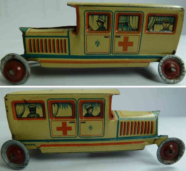 Meier Tin-Penny Toy Red cross limousine, ambulance, beautiful lithographed body