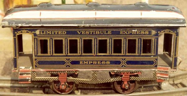 Ives Railway-Passenger Cars Passenger car; 2-axis, lithographed in blue or black with go