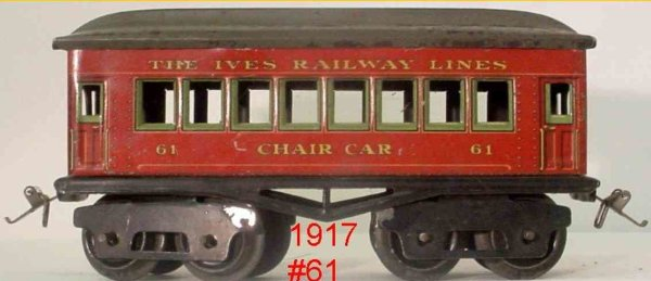 Ives Railway-Passenger Cars Passenger car; 4-axis, red steel lithographed with rivet det