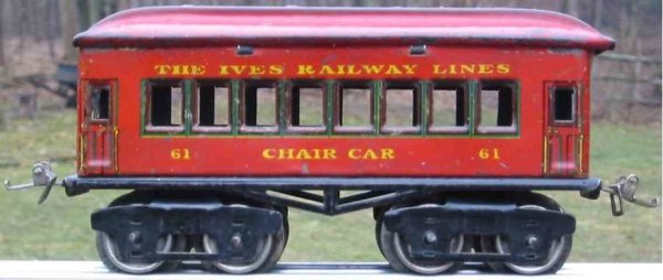 Ives Railway-Passenger Cars Passenger car; 4-axis red lithographed without rivets, nicke