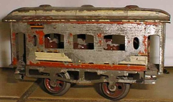 Ives Railway-Passenger Cars Passenger car; 2-axis, hand-painted in red, white orange and