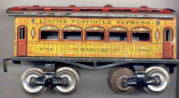 Ives Railway-Passenger Cars Passenger car; 4-axis, lithographed, eight tin wheels, roof