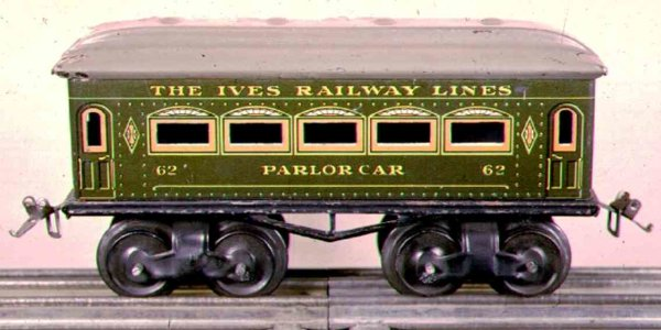 Ives Railway-Passenger Cars Passenger car; 4-axis, steel lithographed, black wheels, one