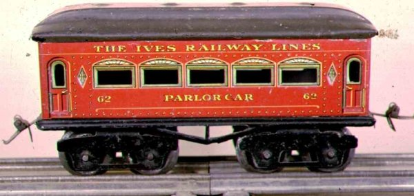 Ives Railway-Passenger Cars Passenger car; 4-axis, red lithographed with rivets, black w