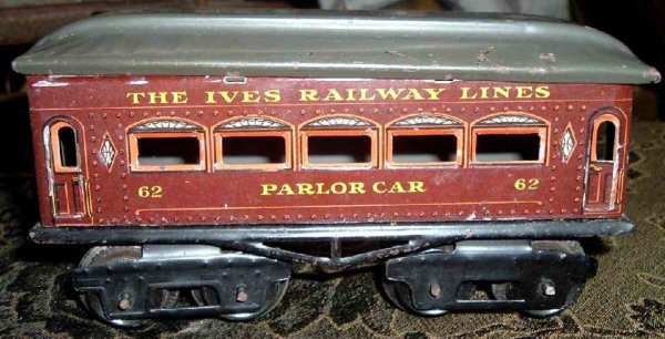Ives Railway-Passenger Cars Passenger car; 4-axis, chocolate brown lithographed with riv