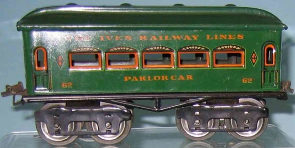 Ives Railway-Passenger Cars Passenger car; 4-axis; green lithographed without rivets, ni