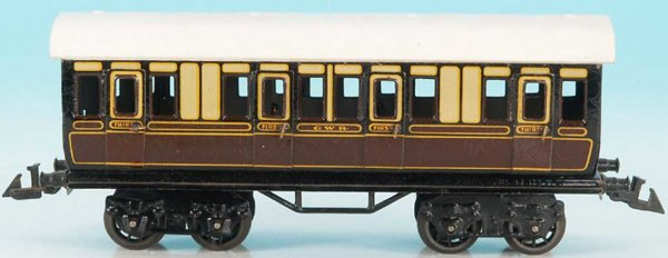 Bing Railway-Passenger Cars English compartment car #62/160 GWR with eight wheels, brown