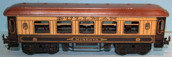 Bing Railway-Passenger Cars Pullman MINERVA #62/190 with eight wheels, cream and brown