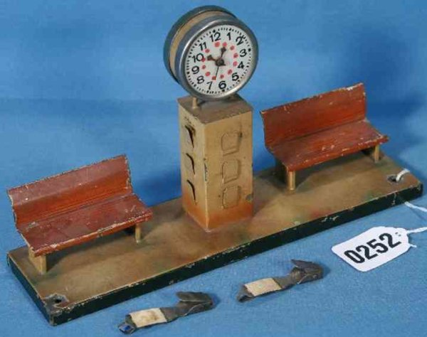 Kibri Railway-Platform Accessories 2 benches with clock #62/5 onto base