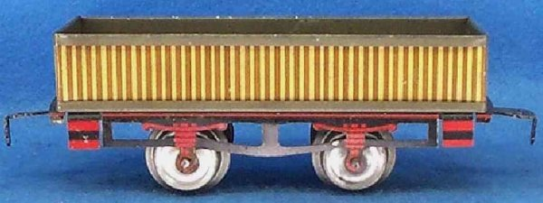 Ives Railway-Freight Wagons Gondola made of tin with four wheels striped lithograph, fra