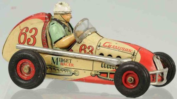 Champion Hardware Company Tin-Race-Cars Tin lithographed friction race car toy, marked Midget Racer