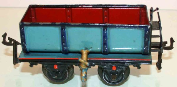 Bing Railway-Freight Wagons Liquid car #6307 with four wheels, hand-painted in red and b