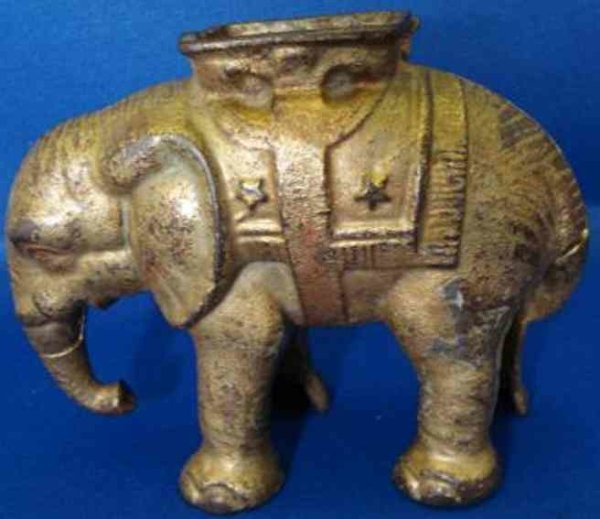 Williams AC Cast-Iron-Mechanical Banks Elephant with Howdah bank comes in red, blue, green or plain