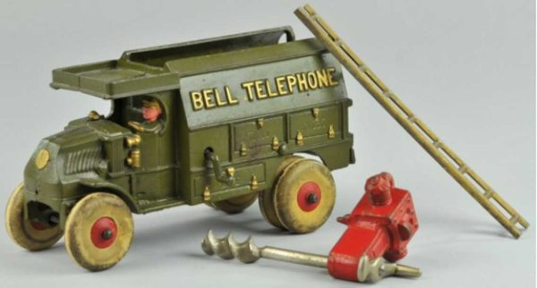 Hubley Cast-Iron trucks Bell telephone truck, largest size in series, a very popular