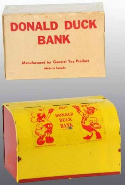 General Toy Product Tin-Mechanical Banks Walt Disney Donald Duck bank of tin with original trap and