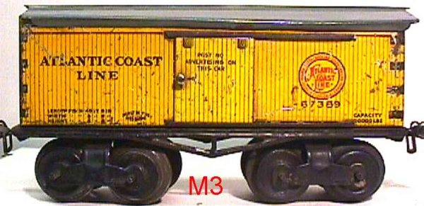 Ives Railway-Freight Wagons Box car; 4-axis; lithographed, lettering ATLANTIC COAST LIN