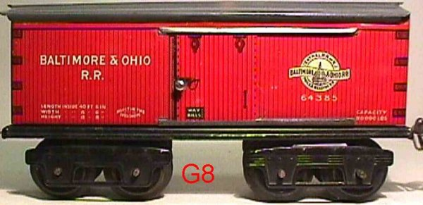 Ives Railway-Freight Wagons Box car #64 B&O (1919) with eight wheels, lithographed, lett