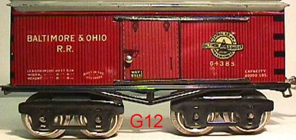 Ives Railway-Freight Wagons Box car #64 B&O (1925) with eight wheels, lithographed, lett