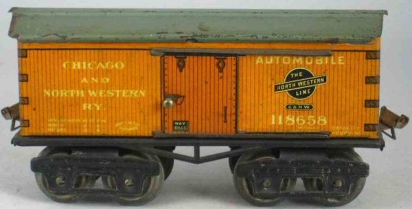 Ives Railway-Freight Wagons Box car; 4-axis; lithographed, lettering CHICAGO AND NORTH