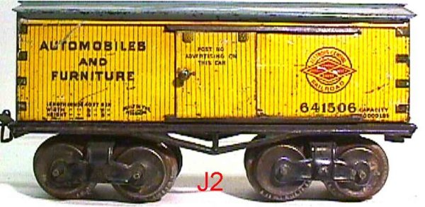 Ives Railway-Freight Wagons Box car; 4-axis; lithographed, lettering AUTOMOBILES AND FU