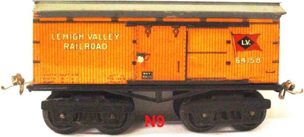 Ives Railway-Freight Wagons Box car; 4-axis; lithographed, lettering LEHIGH VALLEY RAIL