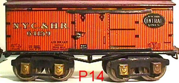 Ives Railway-Freight Wagons Box car; 4-axis; lithographed, lettering N.Y.Y.&H.R. 64159