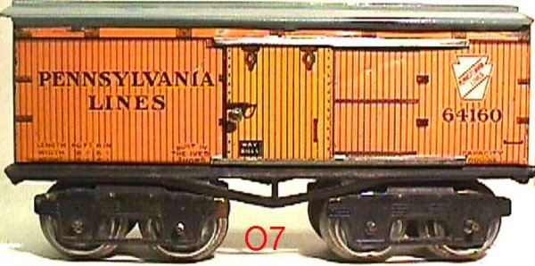 Ives Railway-Freight Wagons Box car; 4-axis; lithographed, lettering LEHIGH PENNSYLVAN