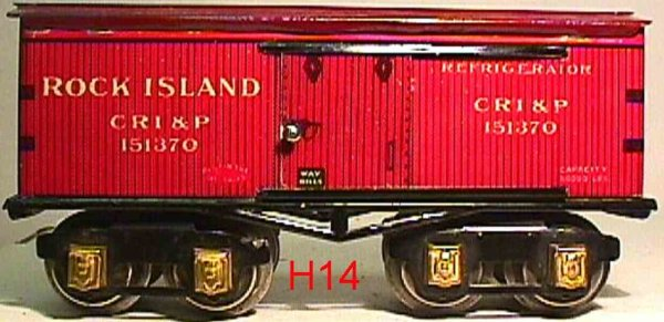 Ives Railway-Freight Wagons Box car; 4-axis; lithographed, lettering ROCK ISLAND CRI&P