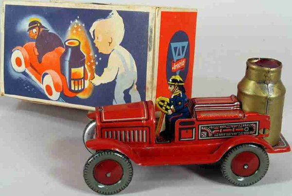 Arnold Tin-Fire-Truck Fire Engine tin wind up, beautiful shiny lithograpy of a ste